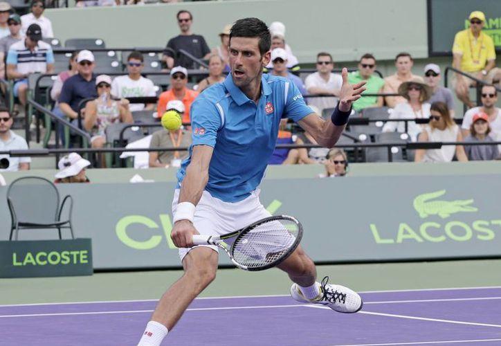 Con evidentes muestras de haber dejado atrás molestias en la espalda el serbio Novak Djokovic avanzó a la final del Abierto de Miami. (AP)