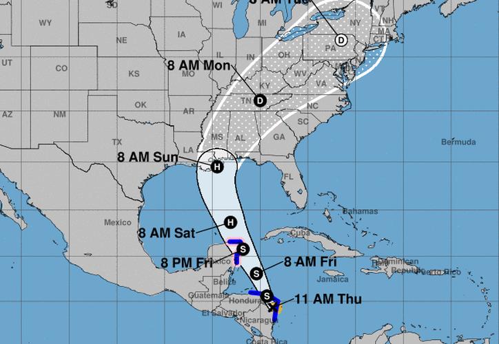 La tormenta tropical Nate presenta vientos máximos de 65 kilómetros por hora. (NOAA).