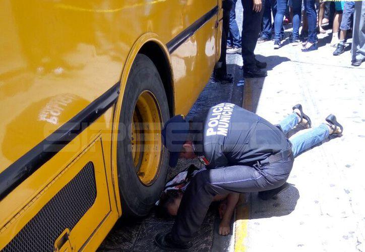 La mujer quedó a centímetros de ser atropellada por un camión de 'Tapetes'. (Milenio Novedades)