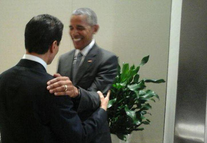 El presidente Enrique Peña Nieto y Barack Obama durante su encuentro en la inauguración de la Cumbre de Líderes del G20 en Hangzhou, China. (@PresidenciaMX)