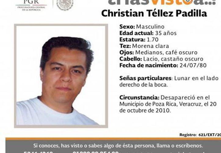 Entre los desaparecidos por lo que se ofrece recompensa para poder saber su paradero se encuentra Christian Téllez Padilla. (PGR)