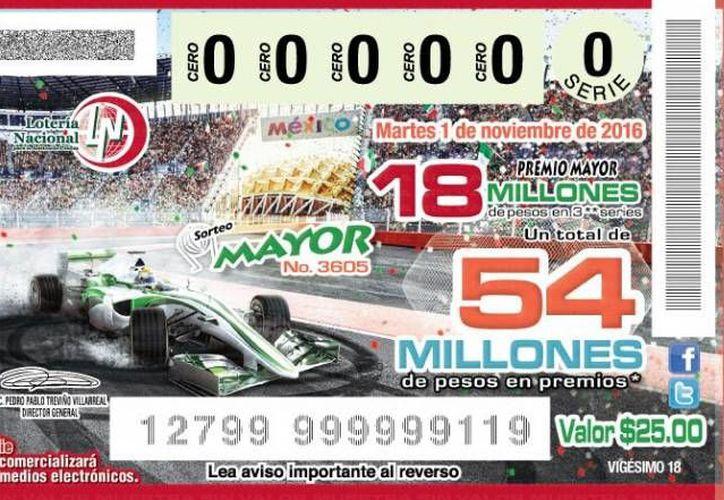 La Lotería Nacional dio a conocer el billete conmemorativo, este jueves, a través de sus redes sociales.(Twitter/@lotenal)