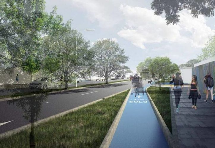 Iniciaron los trabajos de modernización de la calle 50 Sur, en Mérida. Las obras incluyen la primera ciclopista dentro de la zona urbana. (Cortesía)