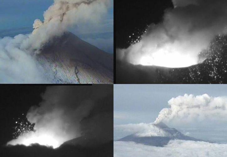 Semar dio a conocer, las cuatro imágenes que tomó durante el sobrevuelo realizado esta mañana por una aeronave de la institución sobre el volcán Popocatépetl. (Notimex)