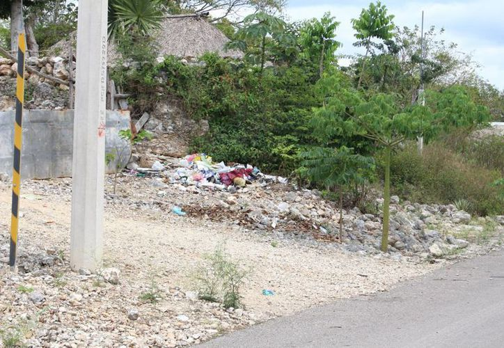 De noche hay gente que arriba en triciclos a arrojar sus desperdicios; e incluso, dueños de locales se deshacen de restos de comida. (Benjamín Pat/SIPSE)