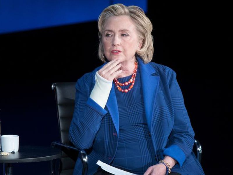 Clinton spoke of the difficulty she had in finding a balance between one's personal roles and relationships and one's professional roles. (AP)