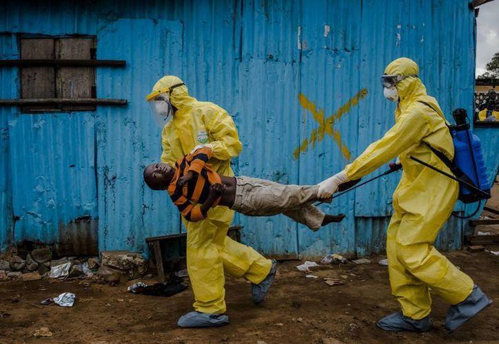 El fotógrafo Daniel Berehulak, del New York Times, fue el ganador del premio Pulitzer por esta imagen en la que aparece un menor, que presuntamente fue infectado por el virus del ébola, al ser transportado por personal bajo altas medidas de seguridad en Liberia. (Foto tomada de AP)