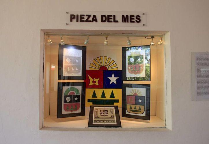La Secretaría de Cultura exhibe una pieza del Escudo en el recibidor del Museo de la Cultura Maya de la capital. (Redacción/SIPSE)