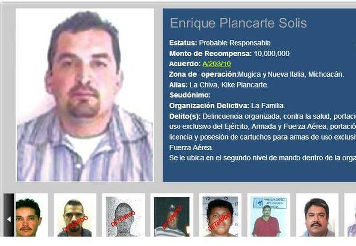 'El Mariachi' era el brazo derecho de Enrique Plancarte -en la imagen-, por quien la PGR ofrece cuantiosa recompensa. (recompensas.gob.mx)