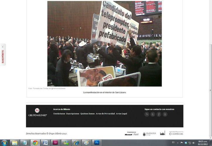 Manifestación de perredistas anti Peña Nieto desde el interior del edificio de San Lázaro. (Captura de pantalla de Milenio)