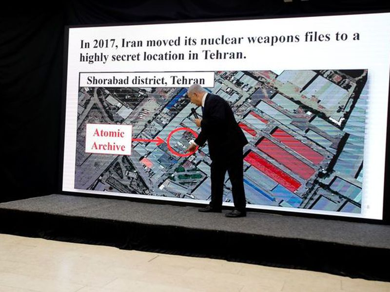 Israeli Prime Minister Benjamin Netanyahu presents material on Iranian nuclear weapons development. (AP)