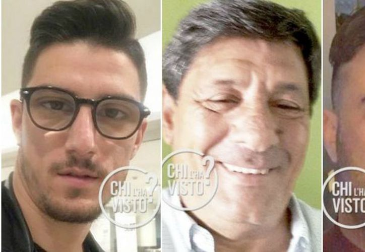 Antonio Russo (izq), Raffaele Russo (centro) y Vincenzo Cimmino (der) desaparecieron el pasado 31 de enero. (Animal Político)