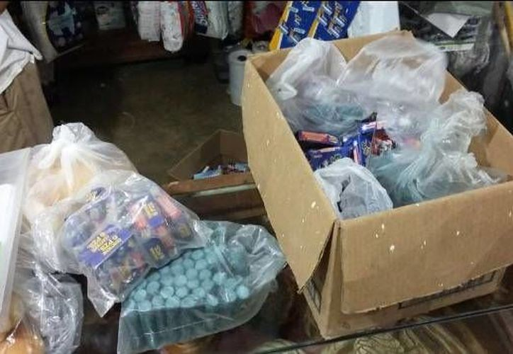 Seis kilos de pirotecnia fueron retirados en una primera visita en Bonfil. (Redacción/SIPSE)
