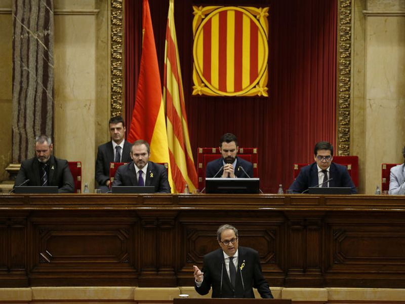 Separatist lawmaker Quim Torra, candidate for regional president, speaks during a parliamentary vote session in Barcelona, Spain. (AP)