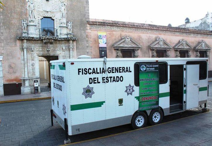 Un módulo similar a este, que se encuentra en la Plaza Grande de Mérida, fue el que la FGE envió a Tizimín. (Cortesía)
