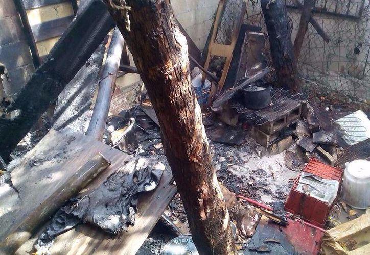 En el lugar de los hechos murió la mascota del hogar, un perro de raza pitbull quien quedó rodeado por las llamas. (Redacción/SIPSE)
