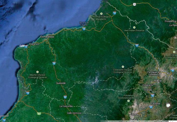 Imagen que muestra la ubicación de la provincia Esmeraldas, donde ocurrió la emboscada a campesinos de La Popa. (Google maps)