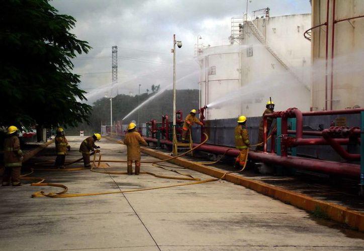 Simulacro se realizó en la Terminal de Almacenamiento en Mérida. (Milenio Novedades)