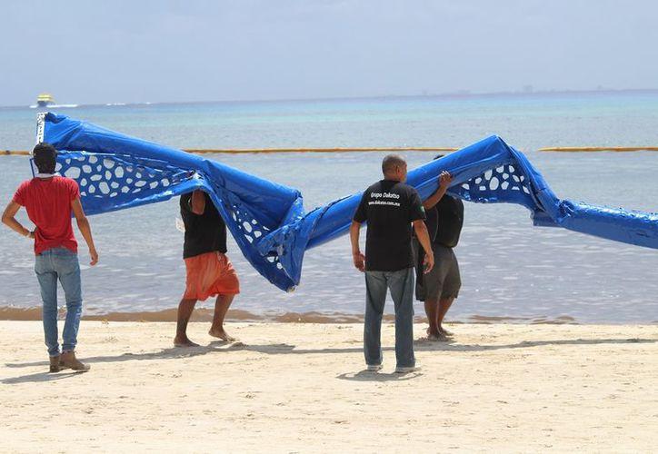 El tramo en que fue probado el proyecto contuvo exitosamente el alga. (Octavio Martínez/SIPSE)