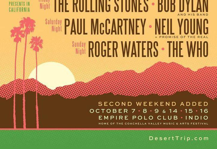 Cartel promocional del festival Desert Trip Indio que se realizará en octubre próximo, y que contará con las máximas figuras de rock. (deserttrip.com)