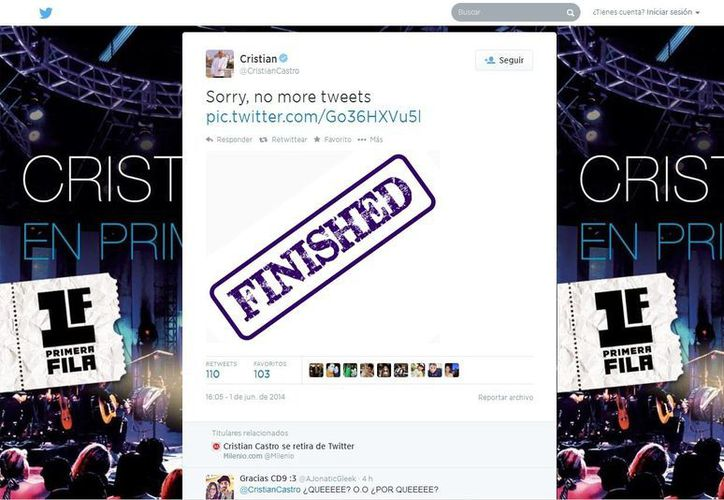 Sin dar explicación alguna, Cristan Castro cerró el acceso a su muro de Twitter. (@CristianCastro)