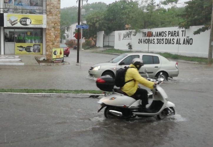 Debido a la lluvia de esta tarde de jueves se generó inundaciones en algunos puntos de Mérida. (José Salazar)