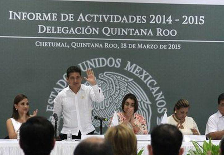 El delegado estatal del instituto, Carlos Hernández Blanco, dio a conocer los avances obtenidos durante  el año pasado. (Harold Alcocer/SIPSE)