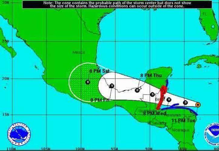 Sigue la trayectoria de la tormenta Earl hacia Q. Roo. (Redacción/SIPSE)