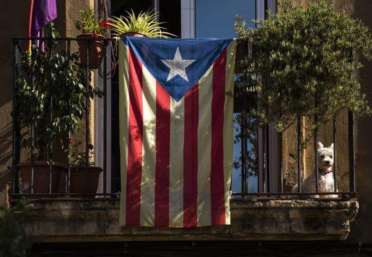 """Un perro se sienta en un balcón decorado con una bandera """"estelada"""", que simboliza la independencia de Cataluña, en Barcelona, España. (Agencias)"""