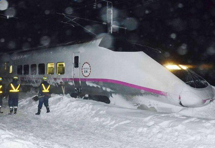 Los pasajeros tuvieron que esperar en el interior del tren, mientras que personal de la empresa quitó el árbol y la nieve en la pista. (Foto de contexto/twitter.com/NUNEZML)
