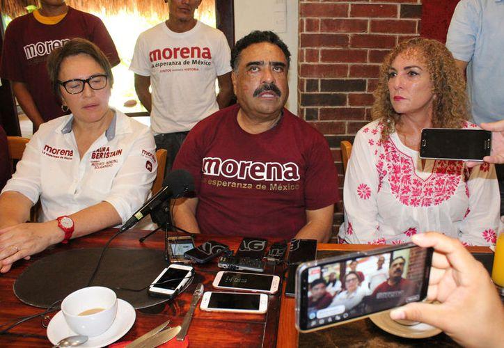 Marciano Toledo se suma a la campaña de Laura Beristaín de la coalición Juntos Haremos Historia. (Foto: Adrián Barreto/SIPSE)