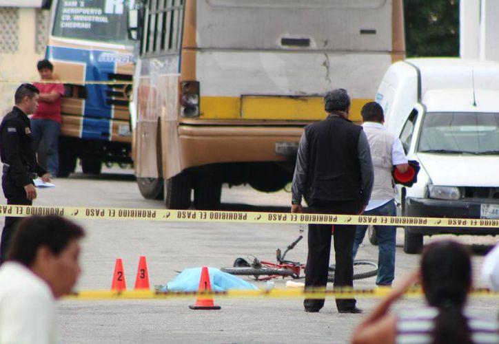 Un ciclista con preferencia de paso perdió la vida este viernes al ser arrollado por un autobús en El Roble. (Aldo Pallota/SIPSE)