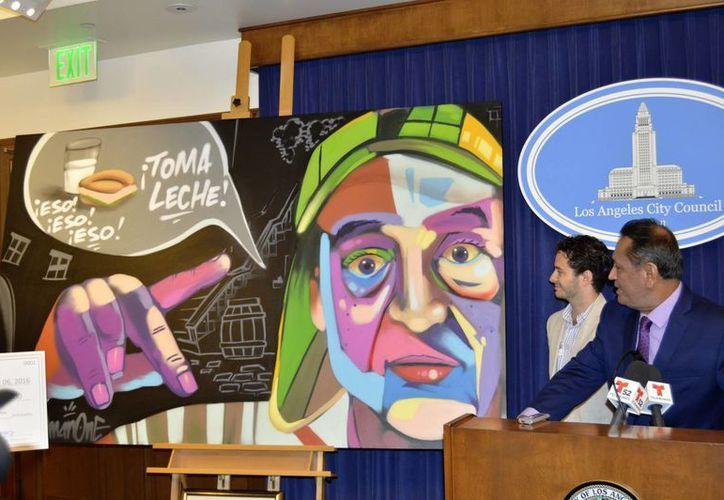 """Obra del artista de Los Ángeles, 'Man One', que retrata al Chavo del Ocho, durante el evento de la proclamación que declara el 8 de septiembre como el """"Día del Chavo del Ocho"""". (EFE)"""