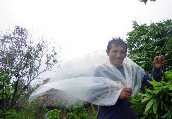 En Yucatán ya impactaron 21 ciclones de 1970 a 2014. Imagen de un hombre al intentar protegerse de la lluvia. (Milenio Novedades)