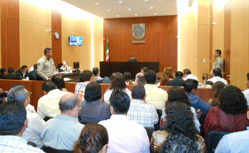 Imagen de la sala siete de Audiencias Orales del Centro de Justicia Oral de Mérida, donde se llevó a cabo la audiencia intermedia del caso del homicidio del psiquiatra Felipe Triay Peniche. (Milenio Novedades)