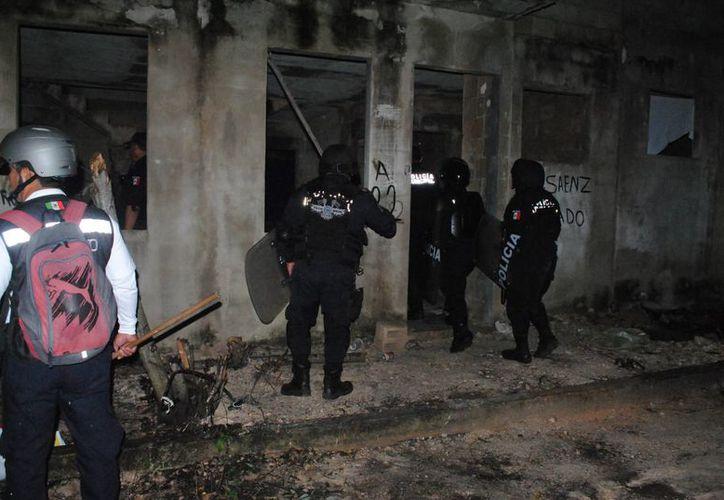 Elementos policíacos resguardan la zona que fue invadida. (Eric Galindo/SIPSE)