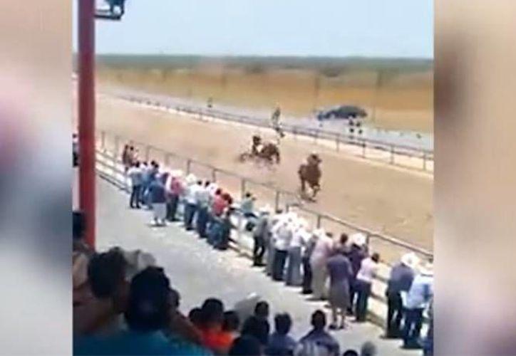 En el material se puede observar cómo uno de los jinetes sale -literalmente- disparado cuando su caballo tropieza. (Captura de pantalla)