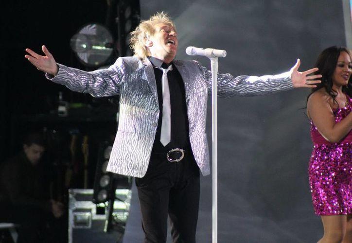 Rod Stewart durante su participación en el más reciente Festival Internacional de la Canción de Viña del Mar. (Foto de archivo de Notimex)