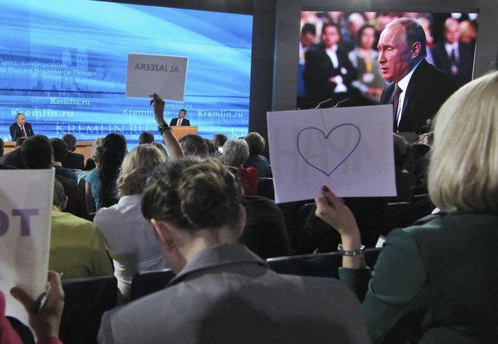 El presidente ruso, Vladímir Putin, durante una rueda de prensa en Moscú. (EFE)