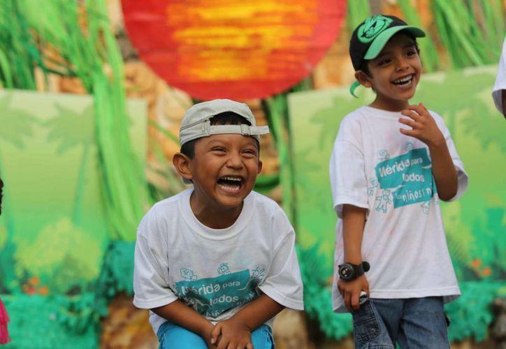 Niños durante el festejo en Animaya. (SIPSE)