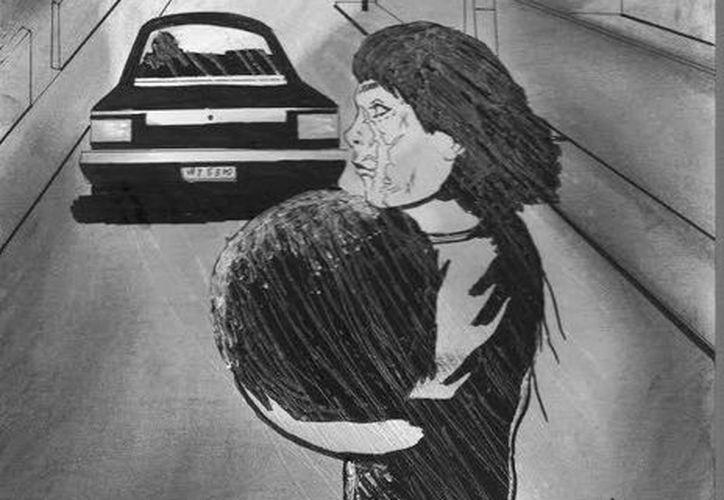 """Representación artística del fantasma de la 'niña y su pelota'"""" que ven en la calles del fraccionamiento Vergel II, al oriente de Mérida. (Jorge Moreno/SIPSE)"""