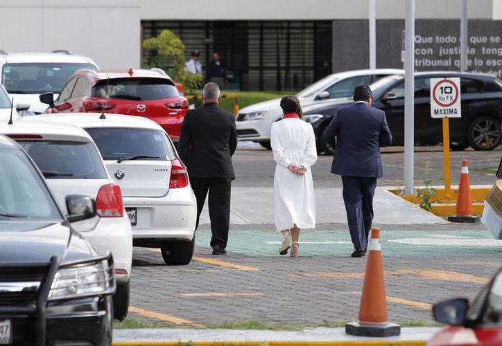 Llegada de Rosario Robles al Reclusorio Sur, para reanudar comparecencia donde se le acusa de ejercicio indebido del servicio público. (Foto: Notimex- Guillermo Granados)