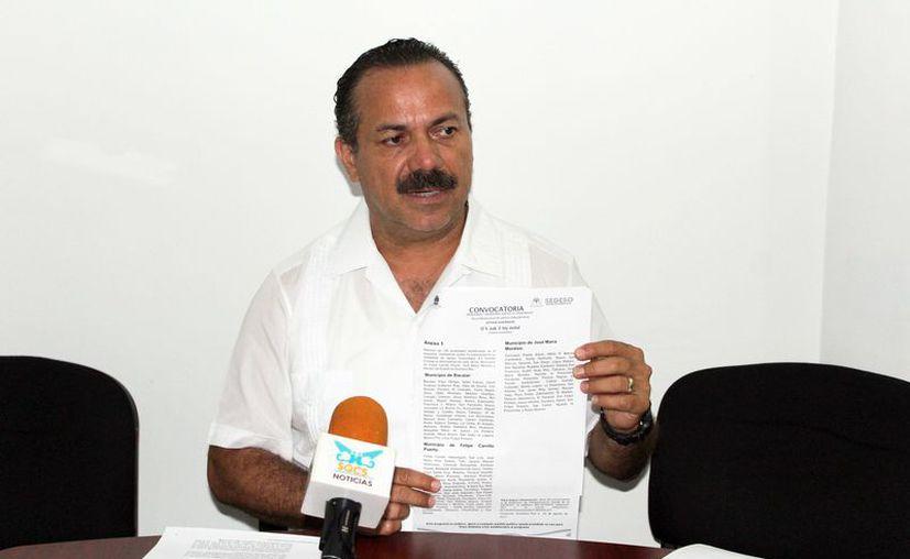 En conferencia de prensa, el titular de la Sedeso, Julián Ricalde Magaña, presentó la convocatoria. (Joel Zamora/SIPSE)