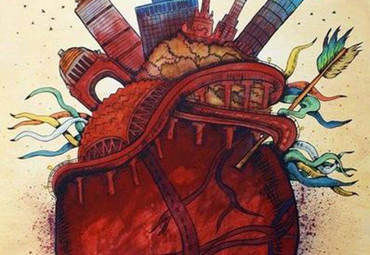 'Corazón de todos' es una concepción 'violenta y sangrienta' de Arturo Ruelas sobre la Ciudad de México. (Arturo Ruelas/SIPSE)