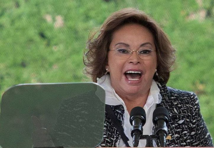 La dirigente del SNTE, Elba Esther Gordillo Morales, detenida ayer, en imagen del pasadom 15 de mayo. (Archivo/EFE)