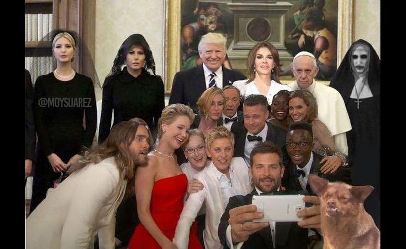 Los memes de la foto oficial del encuentro del Papa y la familia Trump, no se hicieron esperar. (Internet)