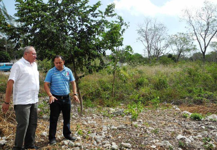 El titular de la Secretaría Estatal de Salud y el alcalde constataron la ubicación del predio y su extensión.  (Rossy López/SIPSE)