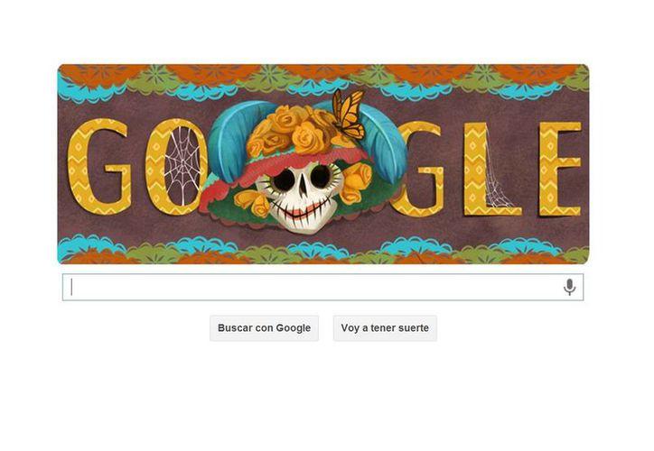 La calavera Catrina adorna el doodle de Google. (Google)