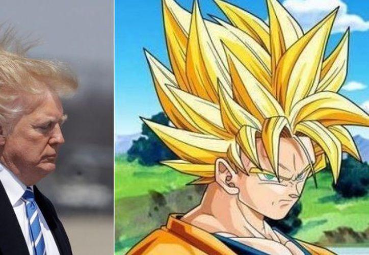 Donald Trump suscita comentarios por su particular peinado de color cambiante. (Twitter)