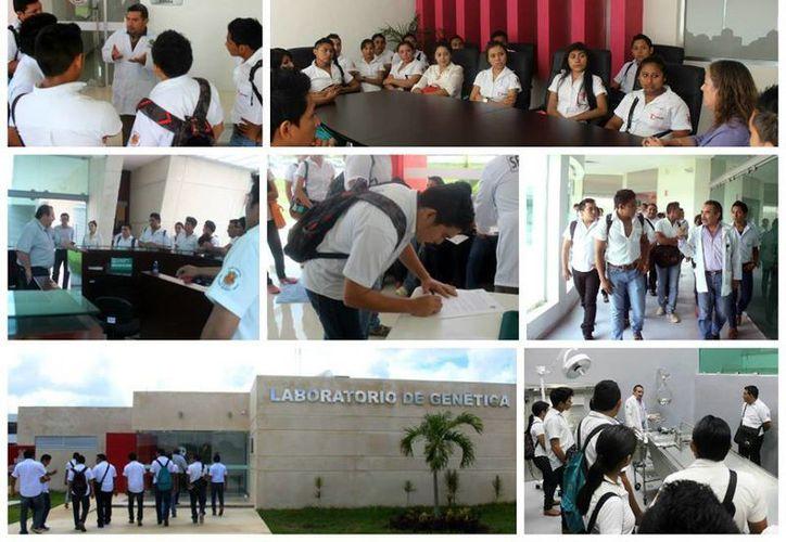 Jóvenes del Centro Educativo Rodríguez Tamayo visitaron los laboratorios de la Fiscalía donde se recogen las muestras para conformar el perfil genético de los yucatecos. (Celia Rivas/Facebook)